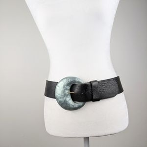 Alexis Bittar Hand Carved Chunky Black Belt